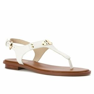 🆕 MICHAEL KORS Plate Thong Leather White Sandal